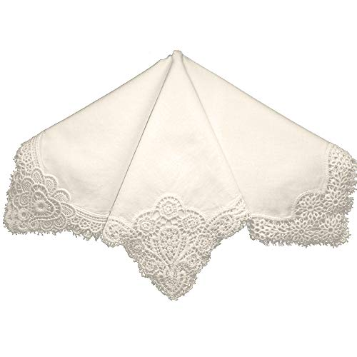 Bumblebee Linens Ivory Wedding Cluny Lace Ladies Cotton Bridal Handkerchiefs Hankie Hanky- Set of 3