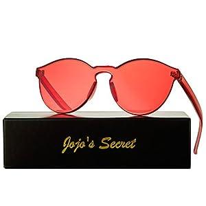 JOJO'S SECRET One Piece Rimless Sunglasses Transparent Candy Color Eyewear JS017 (Transparent&Red, 2.3)