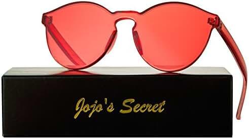 JOJO'S SECRET One Piece Rimless Sunglasses Transparent Candy Color Eyewear JS017