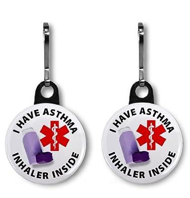 2 x I HAVE ASTHMA INHALER INSIDE Medical Alert Zipper Pull Charms