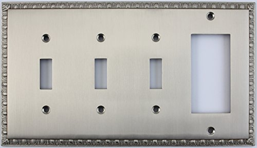 Egg & Dart Satin Nickel 4 Gang Combo Wall Plate - 3 Toggle Light Switches 1 GFI Outlet/Rocker Switch ()