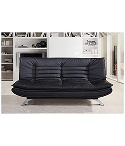 Furny Edo Double Seater Sofa Cum Bed Leatherette Black