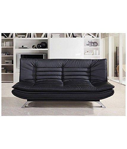 Furny Edo Double Seater Sofa Cum Bed Leatherette Black Amazon In