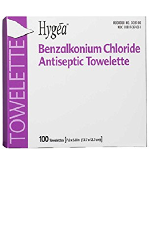 (PDI Professional Disposables D35185 Hygea BZK Antiseptic Towelette 100/Bx)