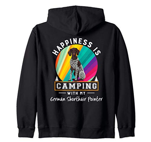 German Shorthair Pointer Dog Happiness Is Camping Zip Hoodie - German Shorthair Pointer Fleece