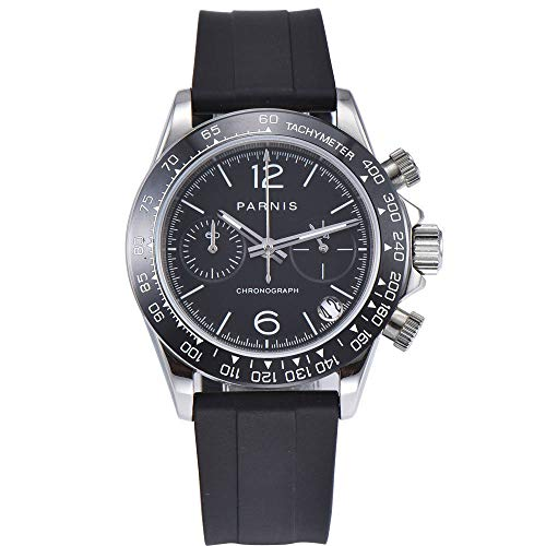 Sapphire Parnis 39mm Black Dial Ceramic Bezel Chronograph Japanese Quartz Movement Men's Watch Black Rubber Strap ()