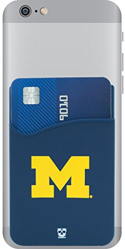 Michigan Wolverines Adhesive Silicone Cell Phone Wallet/Card Holder for iPhone, Android, Samsung Galaxy, & most Smartphones (Accessories Michigan Of University)