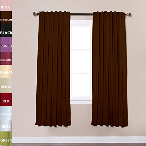 Cheap TWOPAGES® Solid Back Tab / Rod Pocket Polyester Drapes Chocolate Blackout Curtains 52″ W x 84″ L ( Set of 2 Panels )