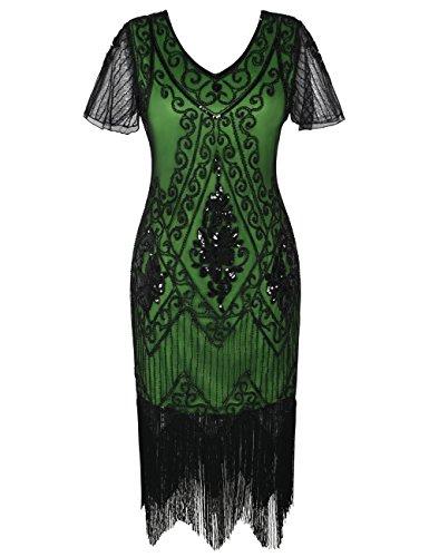 kayamiya 1920s Gatsby Dresses V Neck Inspired Sequins Cocktail Flapper Dress L Green]()
