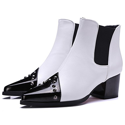 Boots On Winter High Chelsea Pull White Ankle Boots Autumn Women Rivets KemeKiss wqIfTYR