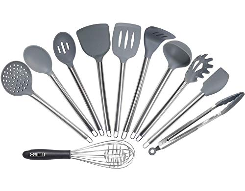 Silicone Kitchen Utensil Set,11 PCS OLIIBEE Durable Stainless Handle with Heat Resistant FDA Approved and BPA Free Silicone Cooking Utensil Set for Non Stick Cookware. Perfect Holiday Gift