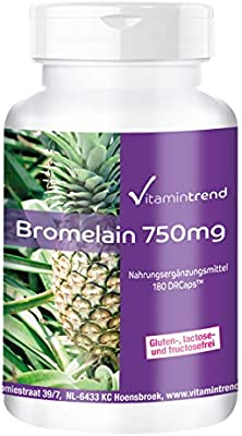 Bromelina 750mg - 180 cápsulas - Vegana - Dosis elevada - Enzima de ...