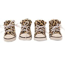Leopard Print Winter Warm Small Big Large Dog Snow Shoes Waterproof Pet Dog Puppy Rain Shoes For Big Dog Nonslip Dog Boot Booties (1, Yellow)