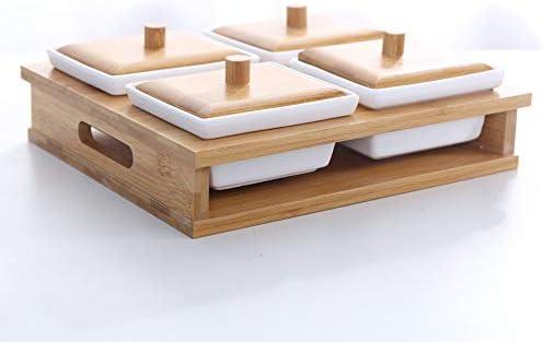セラミック調味料ボックス、竹と木のふた調味料入れのキッチン、塩とコショウのスパイスボトルスパイス収納/リビングルームナッツトレイ,A