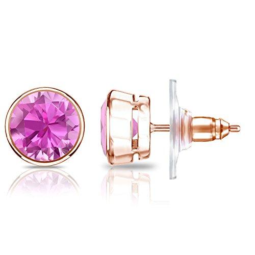 set Round Pink Sapphire Gemstone Stud Earrings (1 1/4 cttw) ()