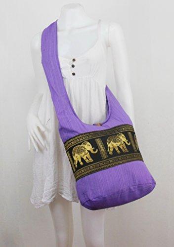Hippie Violet clair Violet éléphant Sac à Hobo rétro Boho bandoulière NaLuck wnE8q1vzxq