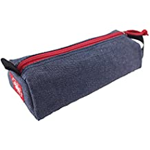 Rough Enough Soft Denim Classic Small Tool Pouch Bag Pencil Case Plus Everyday Kit Accessories Stationary Supplies Organizer Storage Holder with Zipper Handle for Kids Boys Students School Steel Blue