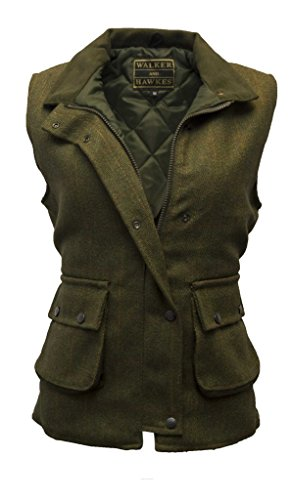 Walker and Hawkes Women's Derby Tweed Shooting Waistcoat Country Gilet 6 Dark Sage