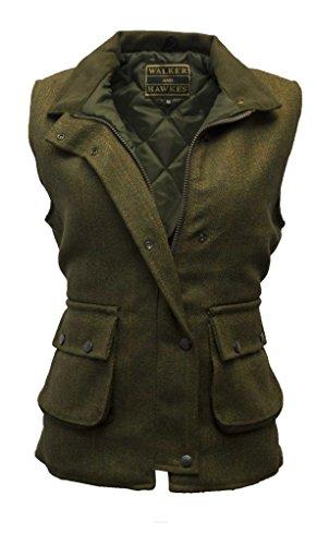 Down Shooting Vest - Walker and Hawkes Women's Derby Tweed Shooting Waistcoat Country Gilet Dark Sage USA 4 (UK 8)