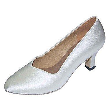 """Mujer Zapatos de Baile latino de satén sandalias moderno profesional/talón interior personalizable blanco,3"""" (7.5cm)Flare Heel,Blanca,US4-4.5/EU34/UK2-2.5/CN33"""