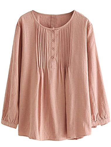 Con Donna Fuxitoggo Pieghe A Da Scollo colore Medium Camicia Rosa Bottoni Dimensione Semplici E Scozzese q1IwCIfA