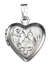 Genuine Sterling Silver Heart with Birds Locket
