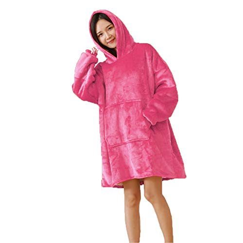 Plush Hoodie Soft Sherpa Blanket Sweatshirt Reversible Pocket Hooded Robe Flannel Pullover Bathrobe (Flannel Reversible Hoodie)
