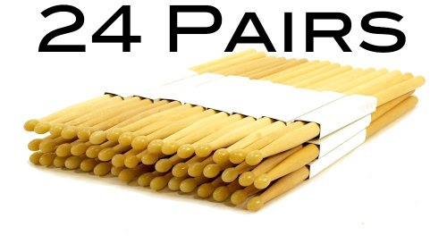 24 PAIRS 5A NYLON TIP NATURAL MAPLE WOOD DRUMSTICKS 48 DRUM STICKS 5AN