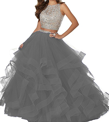 Two BD413 Prom Back Multilayers Grey Piece Open Beads BessDress Dresses Bling qPzddB