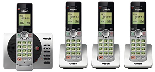 VTech DECT 6.0 Four Handset Cordless Phones with ITAD, CID, Backlit Keypads and Screens, Full Duplex Handset Speakerphones, Call Block Silver/Black