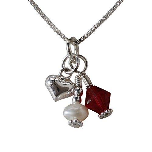 Girl's Sterling Silver July Simulated Birthstone Heart Necklace with Cultured Pearl, 14