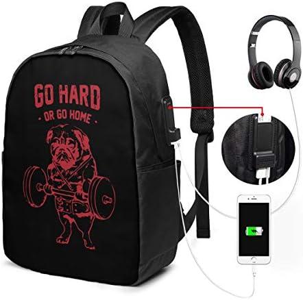 ビジネスリュック Go Hard Or Go Home パグ メンズバックパック 手提げ リュック バックパックリュック 通勤 出張 大容量 イヤホンポート USB充電ポート付き 防水 PC収納 通勤 出張 旅行 通学 男女兼用