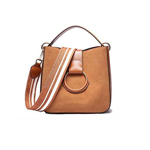 Ghmm Vintage Leather Handbags Cow Scrub Bags Large Capacity Wide Belt Crossbody Messenger Bag (color: Caramel Color) Caramel Color