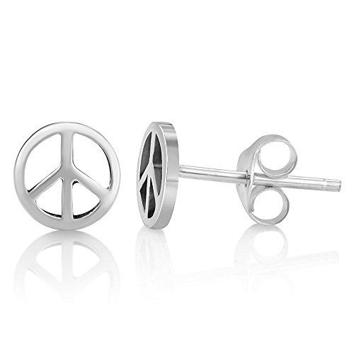 925 Sterling Silver Tiny Classic Peace Sign Open Round Unisex Post Stud Earrings 7 mm