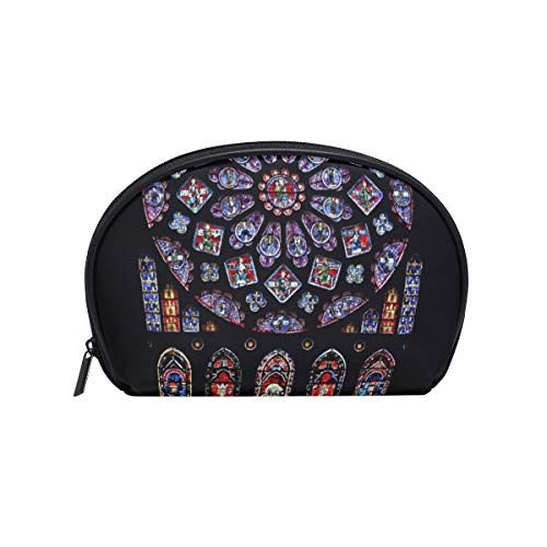 Exquisite Art Chartres Cosmetic Makeup Bags for Women Girls Travel Toiletry Organizer Bags Clutch Pouch Portable Carrying Case Storage Bags