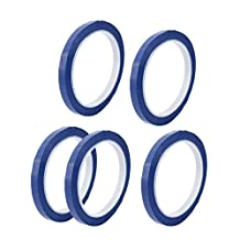 uxcell® 5PCS 8mm Single Sided Strong Self Adhesive Mylar Tape 50M Length Flame Retardant Logo Tape Blue