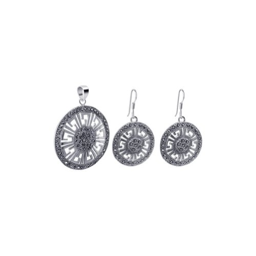 (Sterling Silver Marcasite Accented Round Dangle Earrings Pendant Jewelry Set)