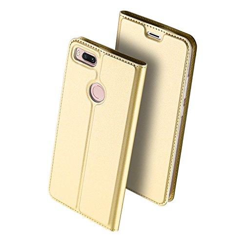 Xiaomi Mi 5X,Xiaomi Mi A1 (5.5) Funda ,GOGME Funda de cuero Funda Flip Funda de cuero Funda protectora con cubierta de teléfono celular para Xiaomi Mi 5X,Xiaomi Mi A1 - Oro Oro