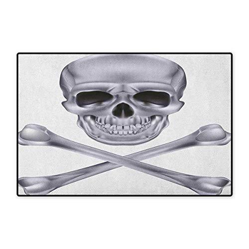 Grey,Door Mats for Inside,Vivid Skull and Crossed Bones Dangerous Scary Dead Skeleton Evil Face Halloween Theme,3D Digital Printing Mat,Dimgray,Size,20