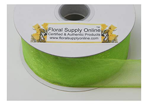 #9 Monofilament Edge Sheer Organza Ribbon for Floral, Fashion, Craft, Scrapbooking, Gift Wrapping, Hair Bows, Wedding, Baby Shower, and Decorating Projects. (1-1/2 Inch x 25 Yard, Lime) ()