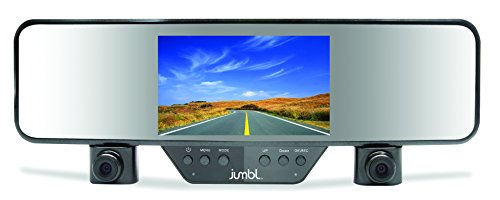 Jumbl Car Rear View Mirror & Dual Camera HD 1080p Dash Cam, Clips on Easily & Firmly to Existing Mirror, Dashcam for Vehicle Interior & Exterior DVR Accident Recording, 4.3