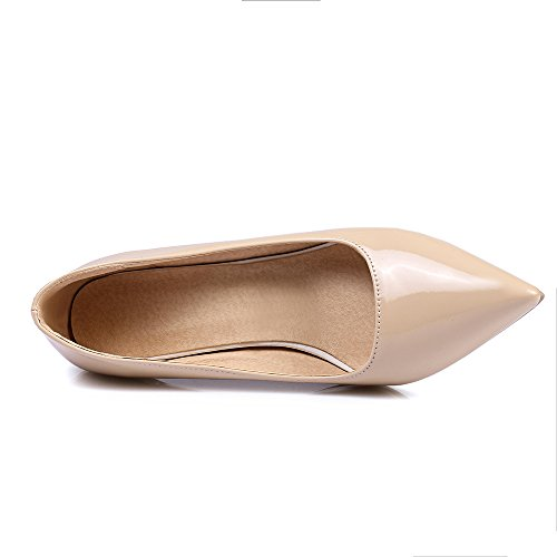 SexyPrey Women's Pointed Toe Slip On Kitten Heels Party Wedding Court Shoes Natural 1TIPItLL9h
