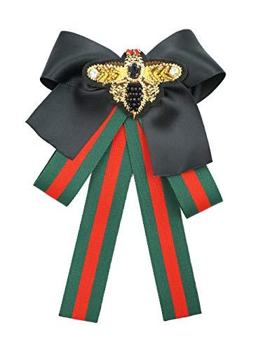 - Rhinestone Bow Ties Vintage Women Brooch Big Ribbon Bowknot Shirt Fabric Bowknot with Brooch (Red+Green Fabric+Black Bowknot+Bee/BV16)
