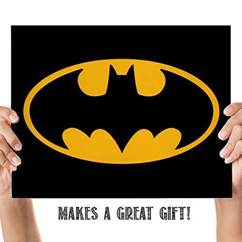 "Batman Logo- 8 x 10"" Wall Art Prints- Ready To Frame- Classic DC Comic- Action Hero- Emblem Replica Print. Home- Bar- Dorm- Bedroom- Man Cave Decor. Iconic""Bat Sign""- Must Have For Batman Fans!"