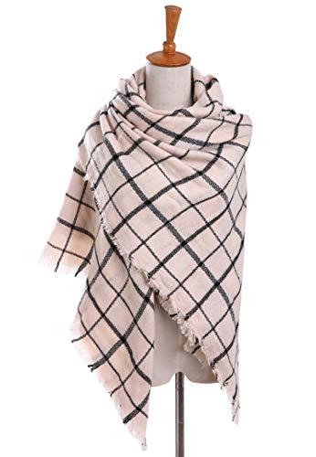 Bess Bridal Women's Plaid Blanket Winter Scarf Warm Cozy Tartan Wrap Oversized Shawl Cape (One Size, Beige) ()