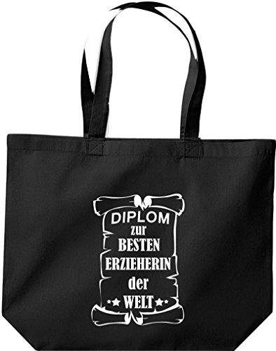 Shirtstown große Bolsa de compra, Diploma para la besten Erzieherin der Welt Negro