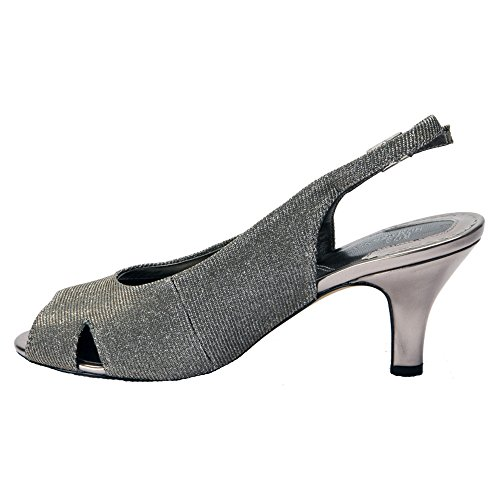 Ros Hommerson Femmes Lana Peep Toe Sangle Casual Sandale Argent Microtouch