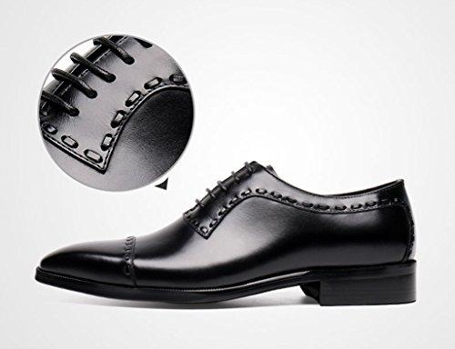 Zapatos Clásicos de Piel para Hombre Zapatos de cuero de los hombres Trajes de negocios de gama alta Estilo británico hecho a mano Zapatos de encaje ( Color : Negro , Tamaño : EU 41/UK7 ) Negro