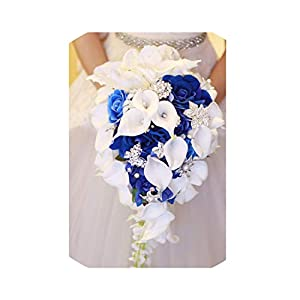 entertainment-moment-flower Royal Blue Artificial Bride Flowers Waterfall Wedding Bouquet with Crystal Bridal Brooch Bouquets De,Royal Blue 118