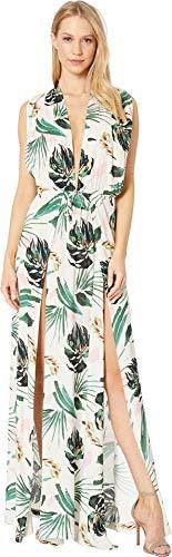 BCBG Women's Overlap Plunge Maxi Crossback Dress Cover-Up, Multi//Tropicals, XS ()